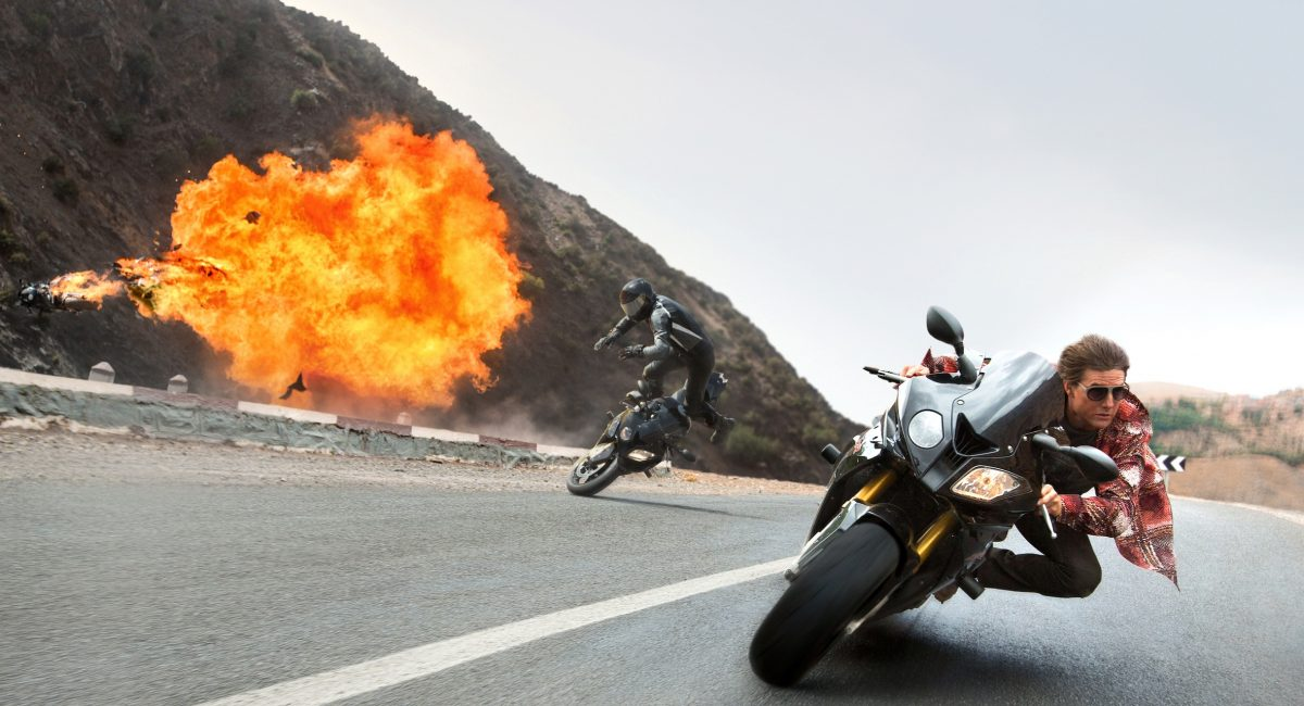 Tom Cruise plays Ethan Hunt in MISSION: IMPOSSIBLE - ROGUE NATION by Paramount Pictures and Skydance Productions.